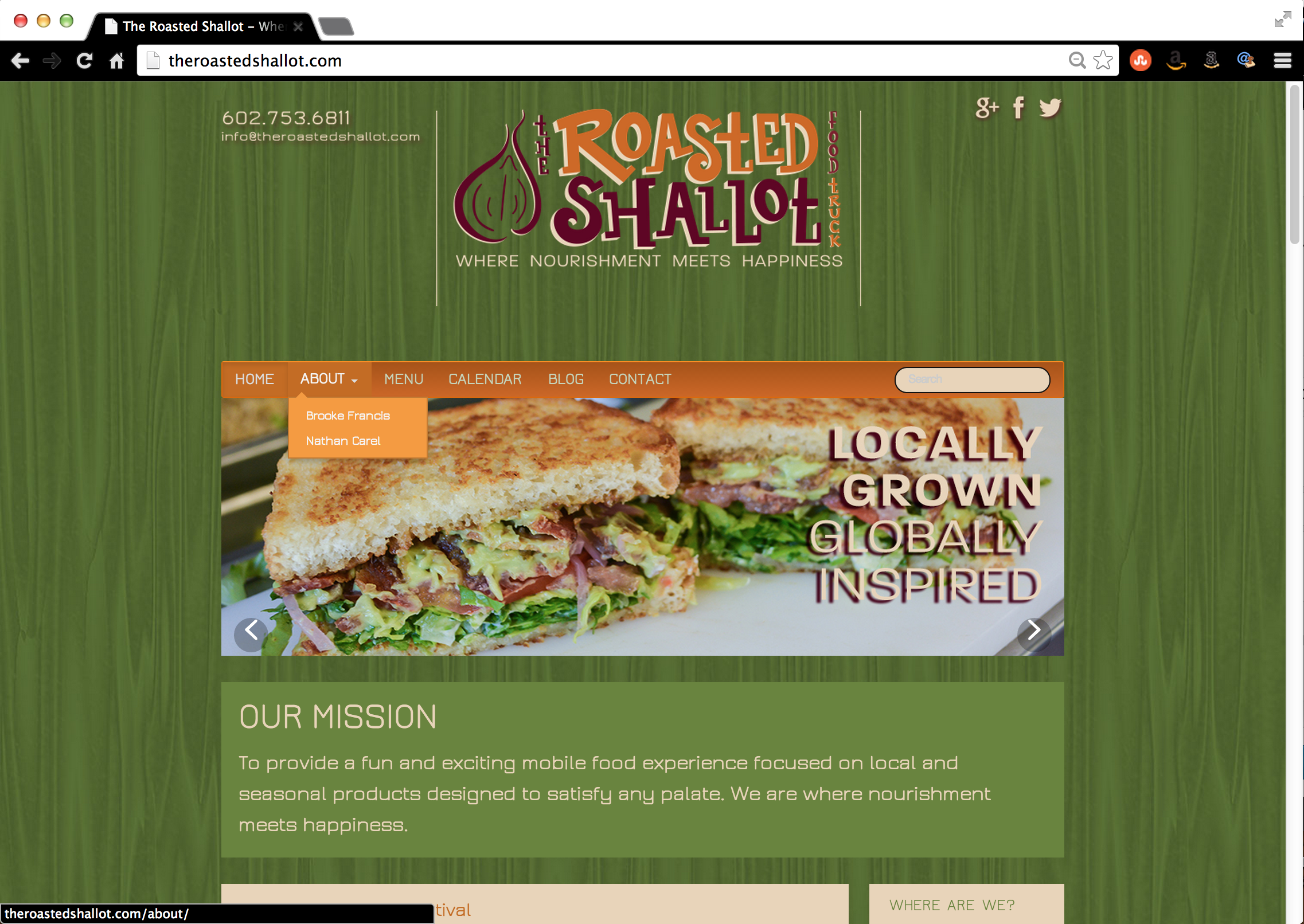 PROJECT UPDATE: The Roasted Shallot Food Truck Website