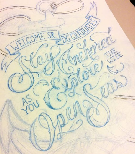 Delta gamma custom hand lettering nautical typography sketch