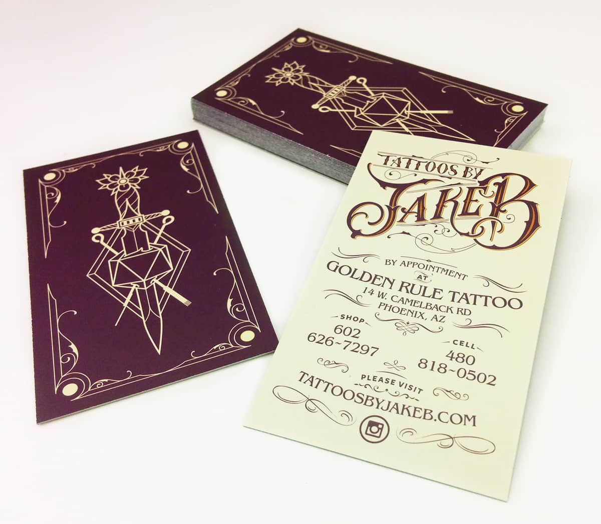 Jake B tattoo artist business cards