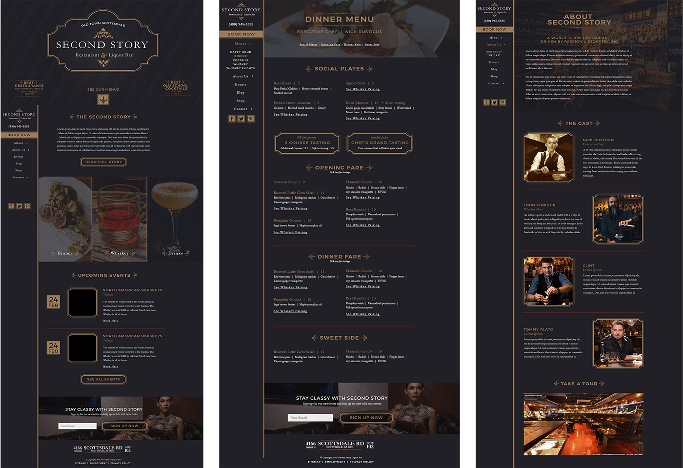 Second Story Restaurant Website pages