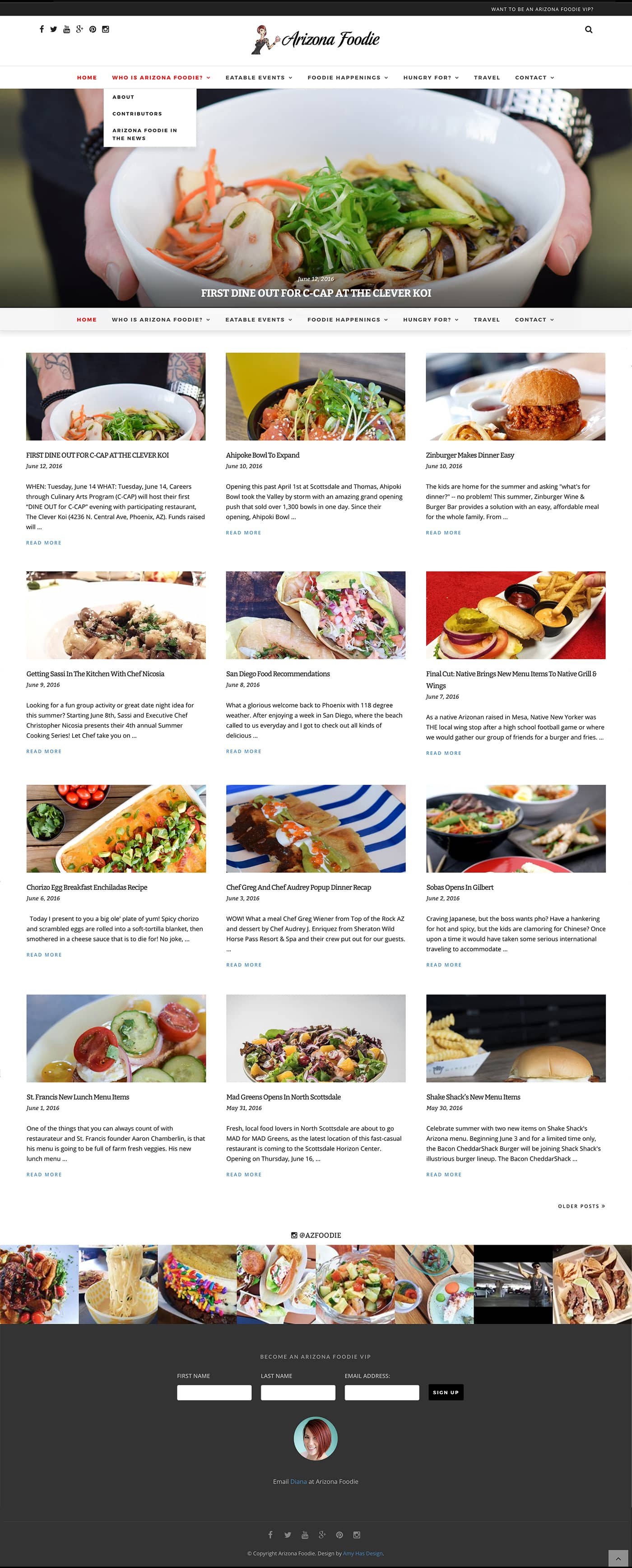 az foodie blog website homepage