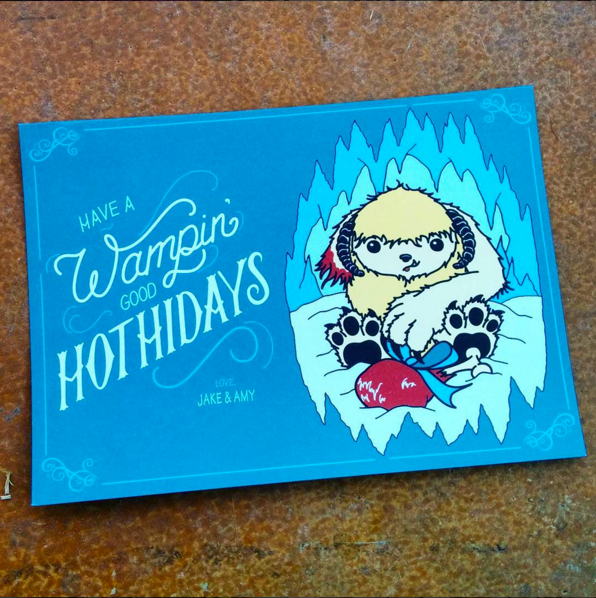 wampin hothidays nerdy hand lettered holiday cards