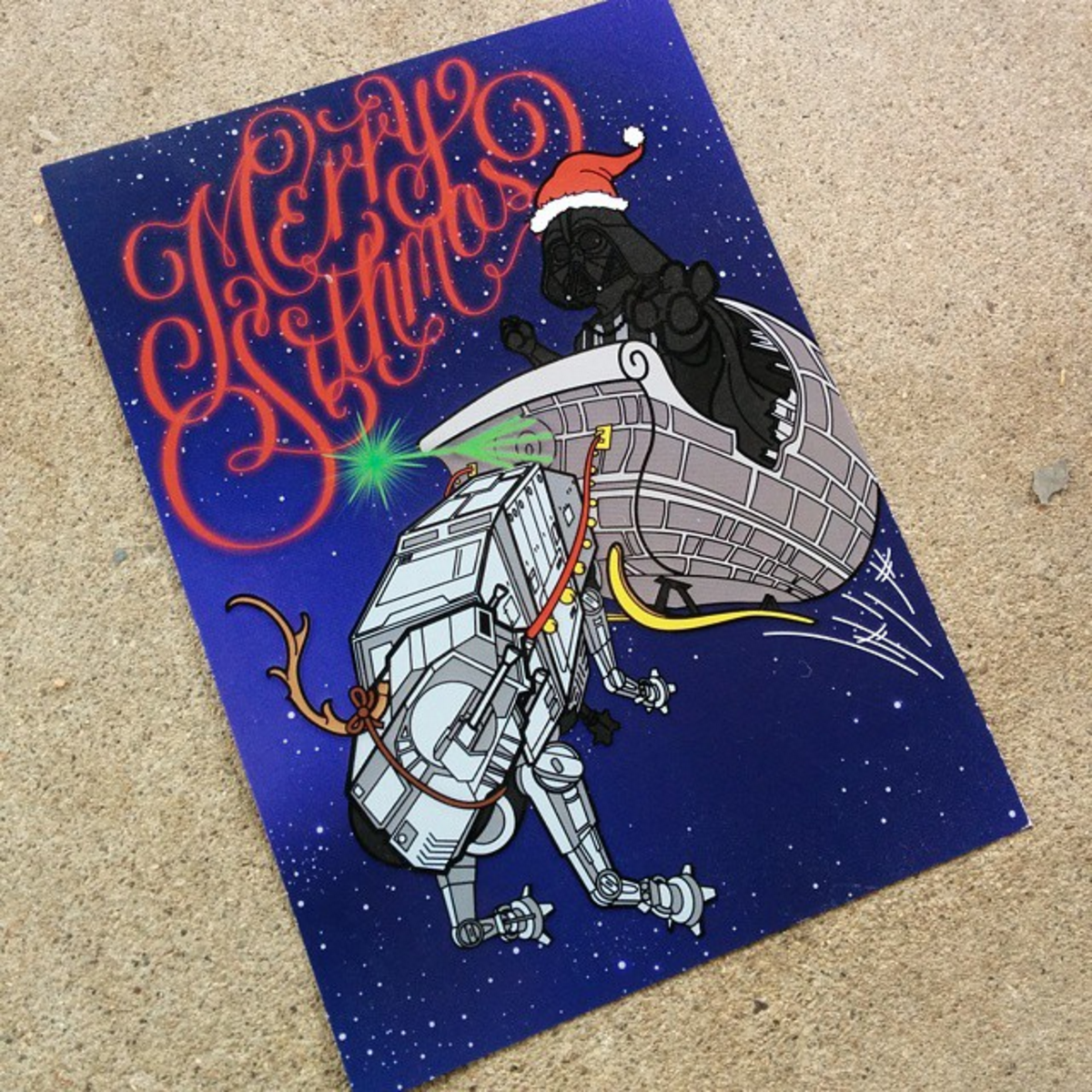 merry sithmas nerdy hand lettered holiday cards