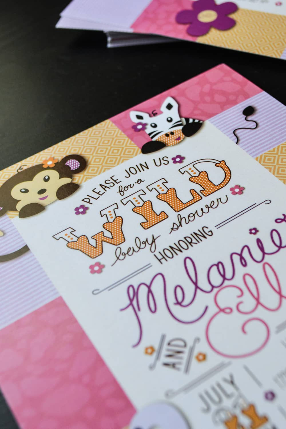 custom baby shower invitation close up