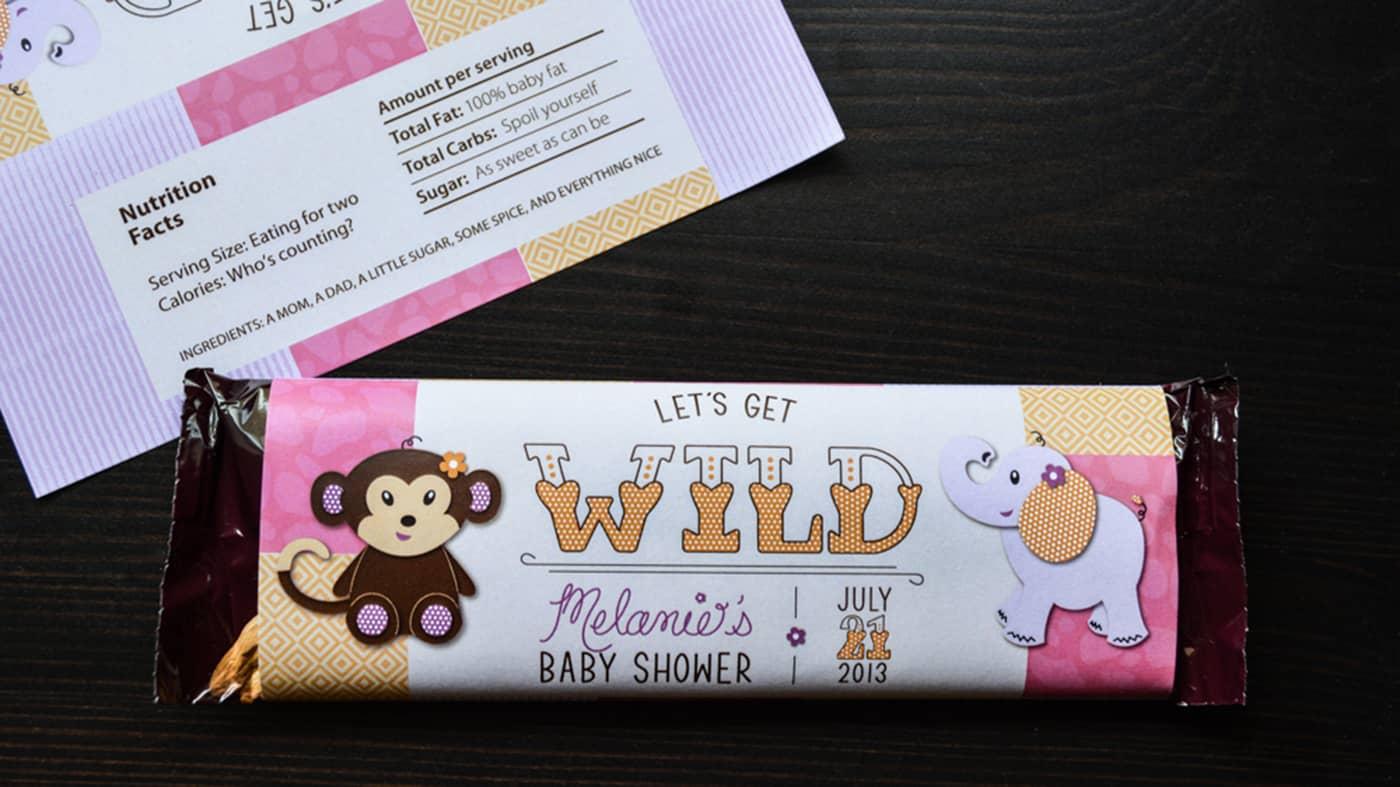 custom baby shower invitation candy bar wrapper