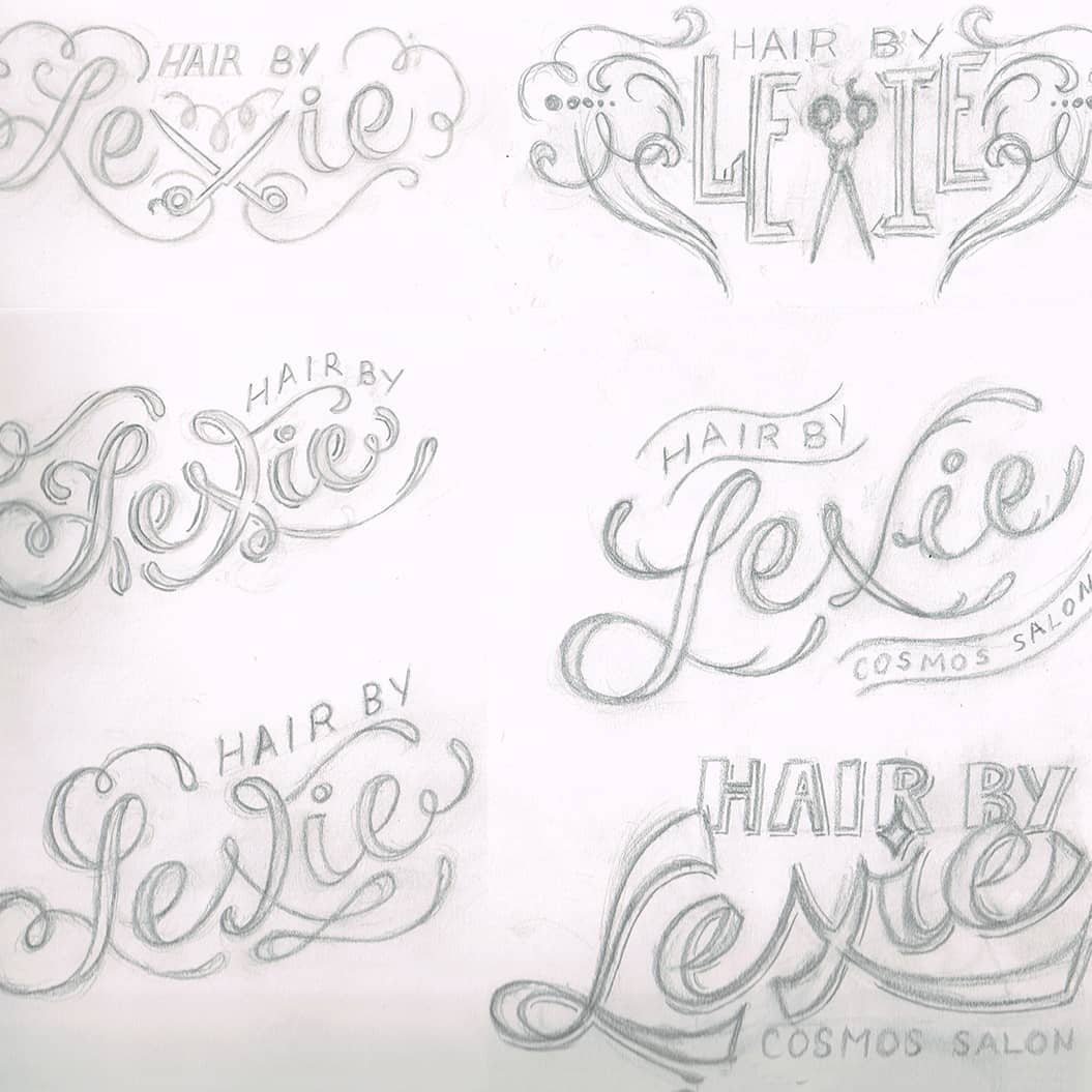 hair by lexie hairstylist branding logo sketches