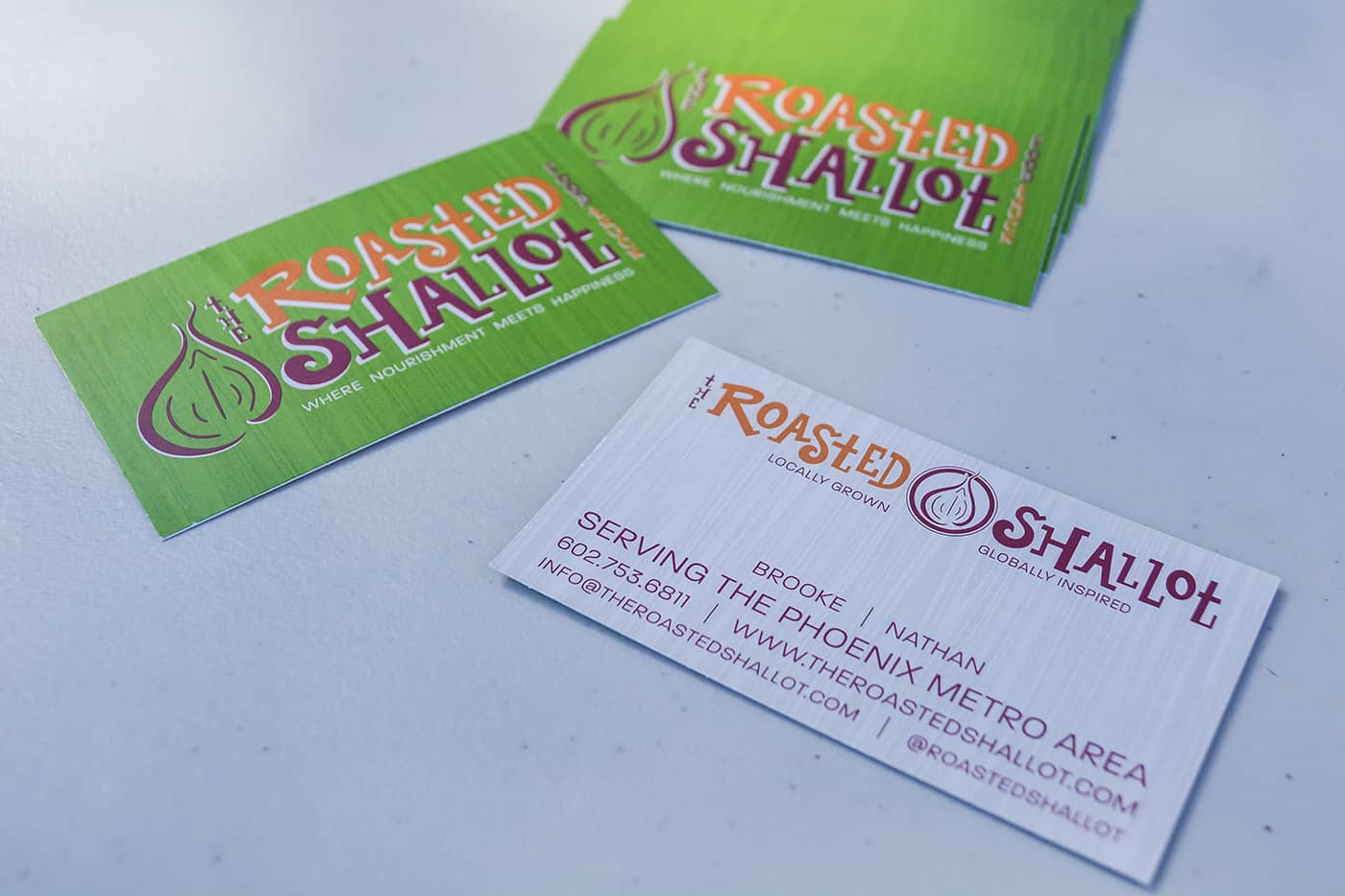the roasted shallot food truck branding business cards