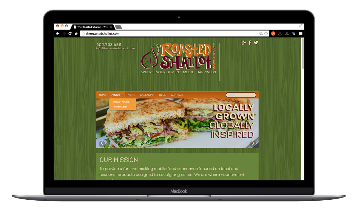 the roasted shallot food truck branding website