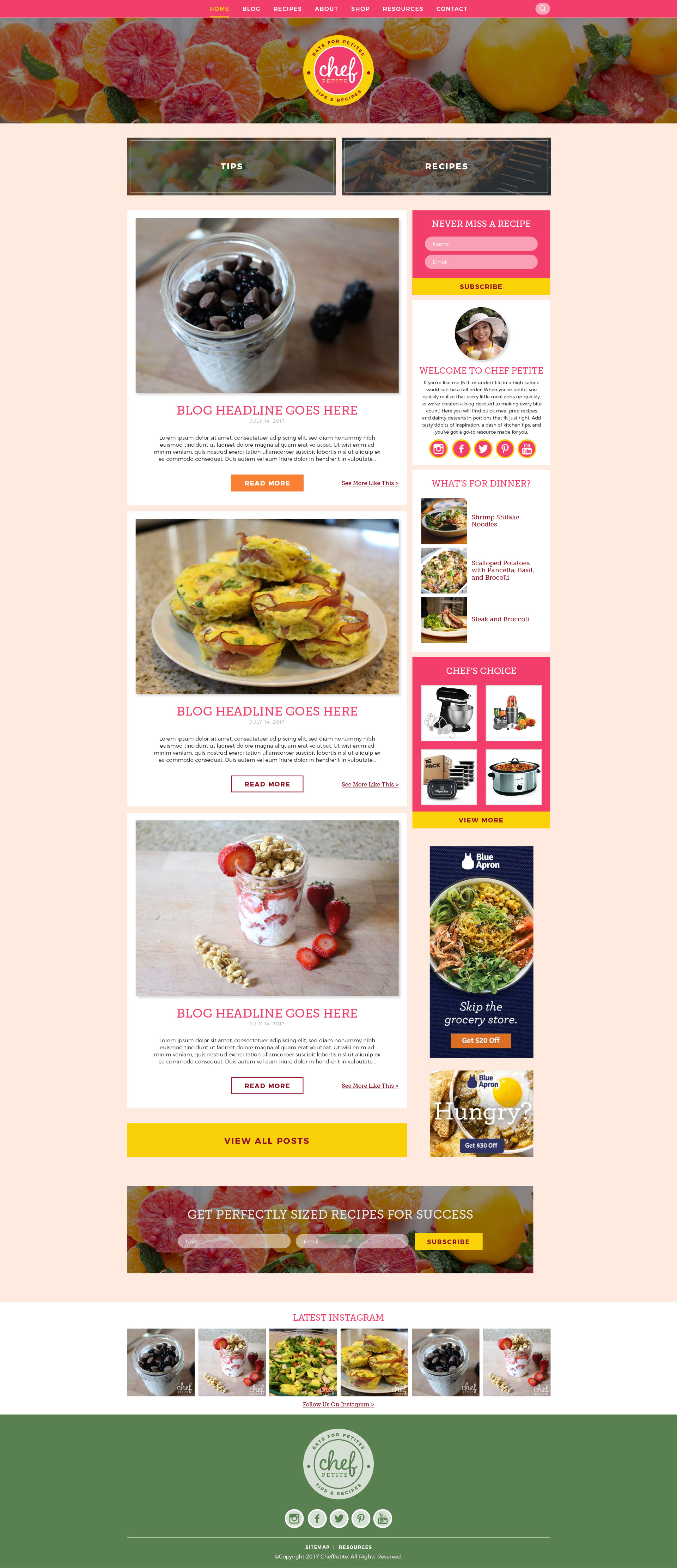 ChefPetite food blog design home page