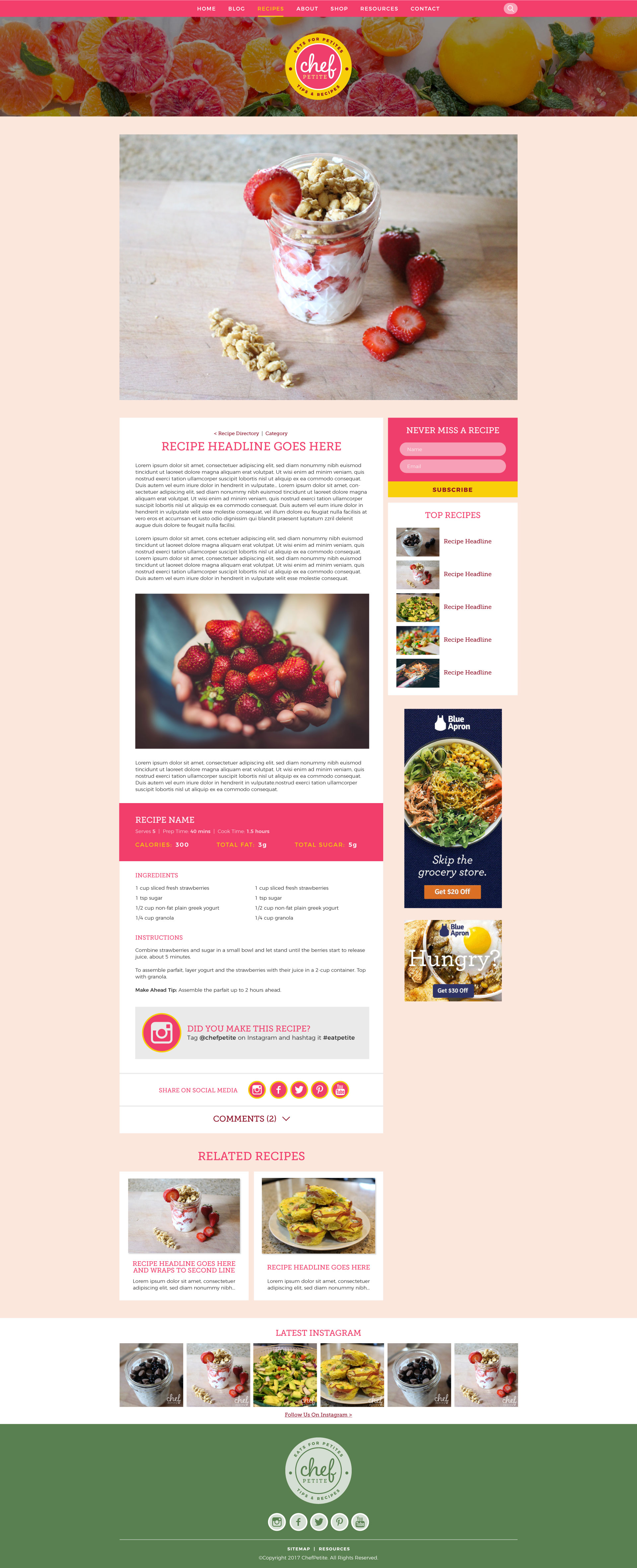 ChefPetite food blog design recipe post page