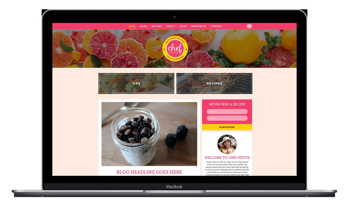 ChefPetite food blog design mockup
