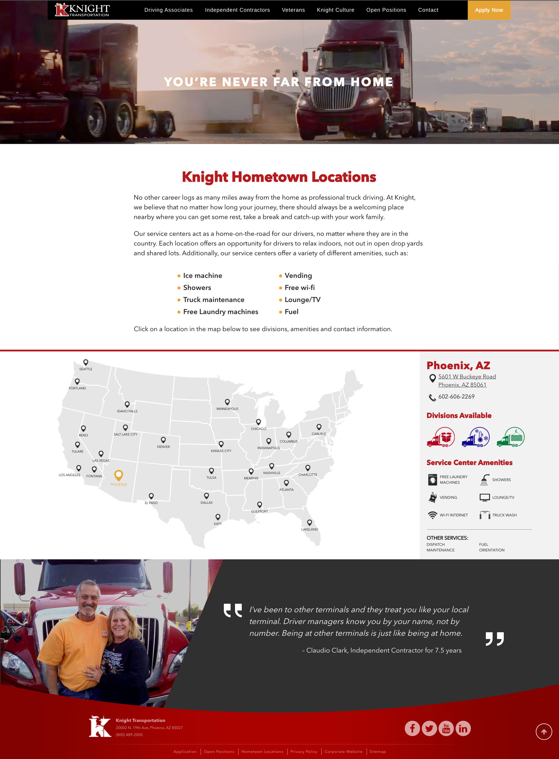 driveknight driver recruiting website locations page design