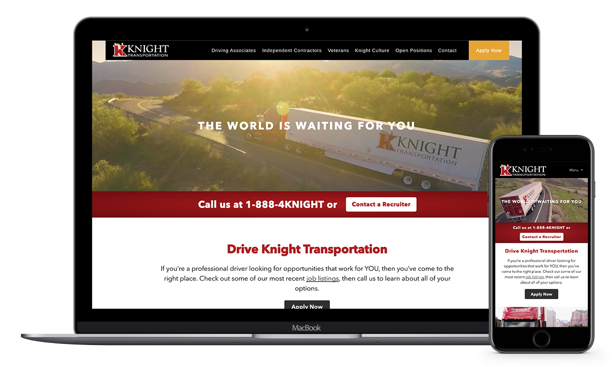 driveknight driver recruiting website mockup