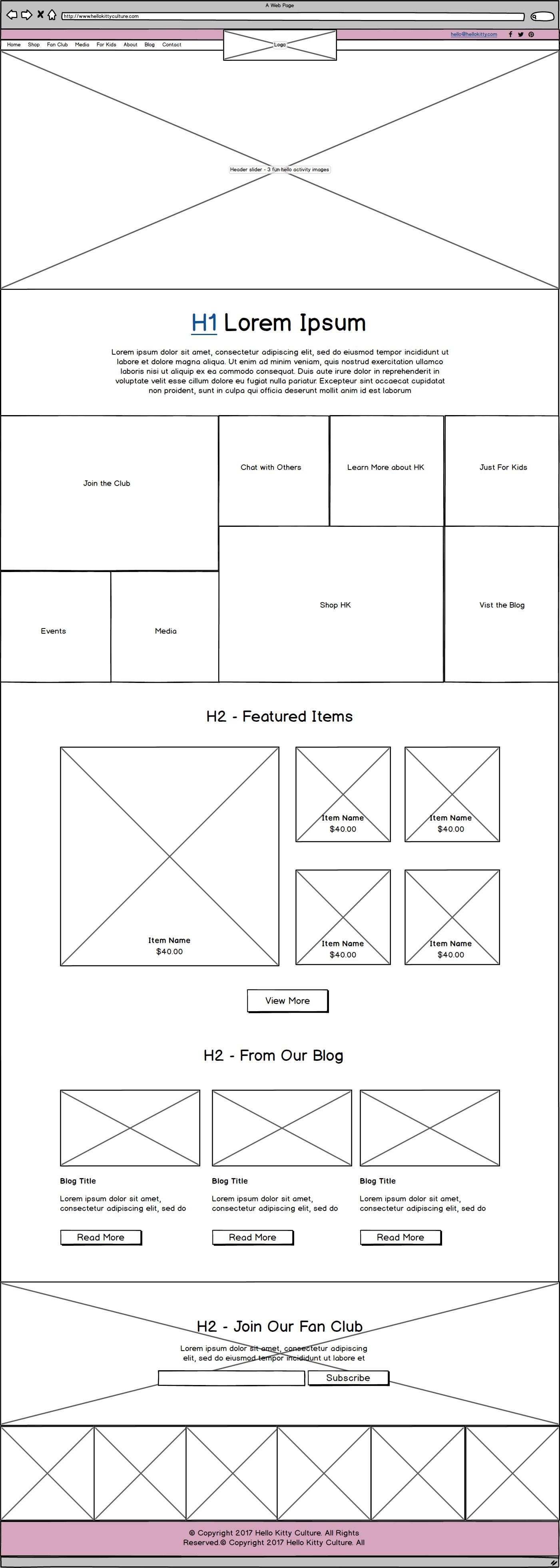 HK Culture Fan website design home page wireframe