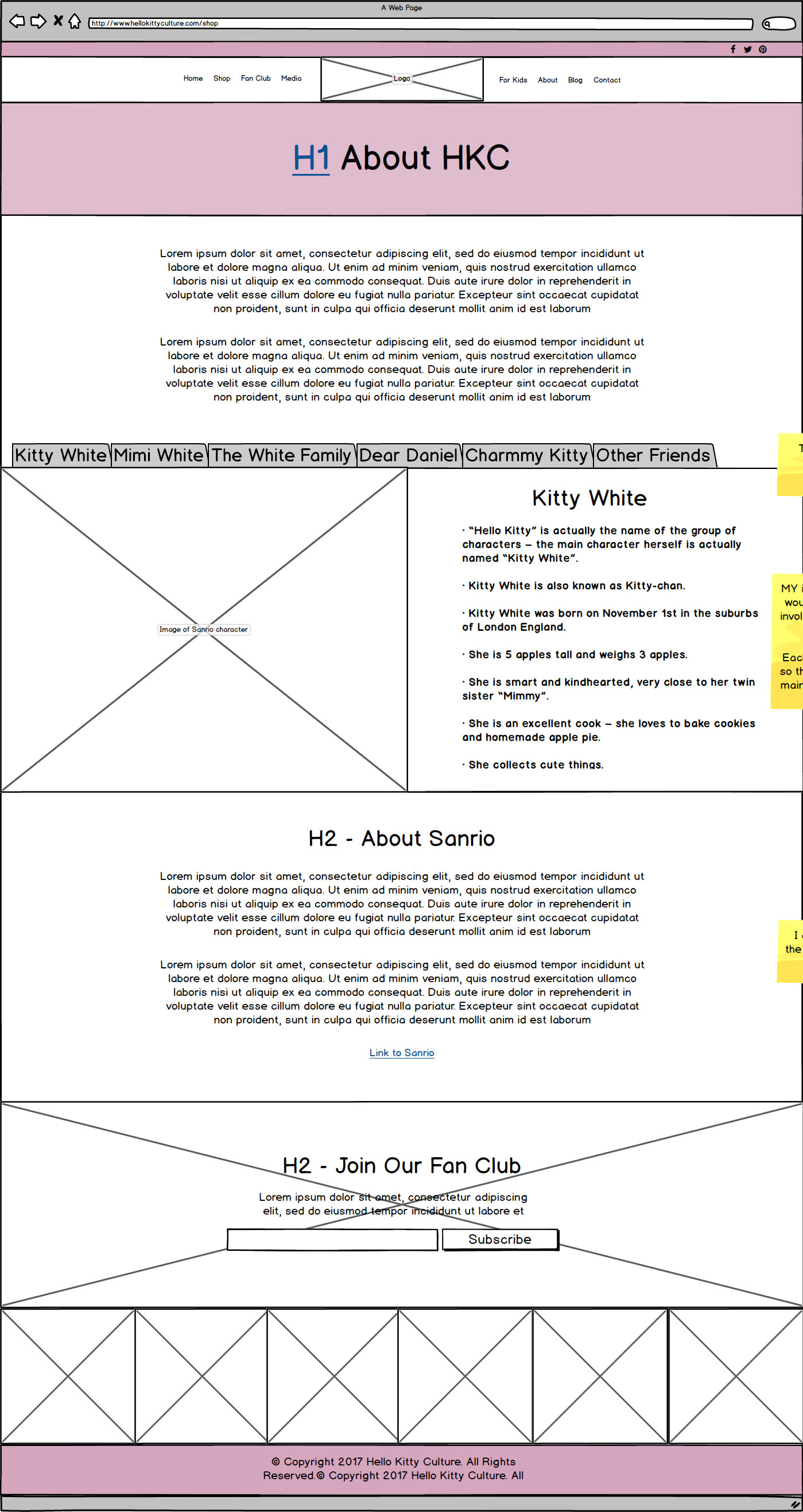 HK Culture Fan website design about page wireframe